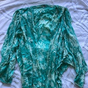 Society amuse blue green floral print cover up